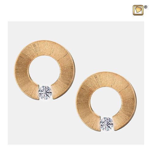 Omega Stud Earrings Pol & Brushed Gold Vermeil