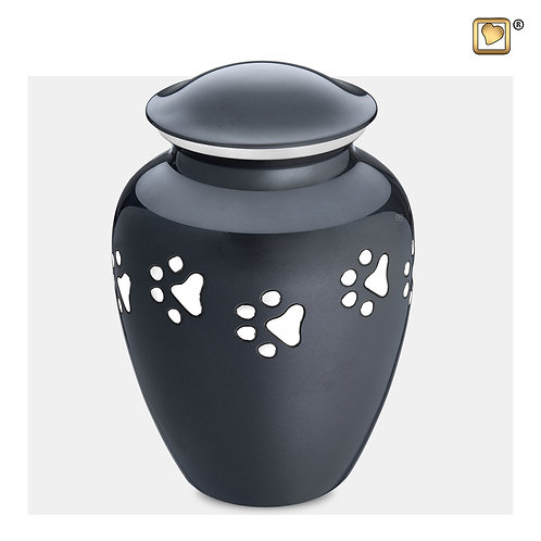 Classic Pet Urn Midnight & Brushed Pewter