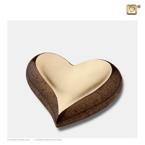 Heart Keepsake Urn Speckled Auburn & Brushed Gold