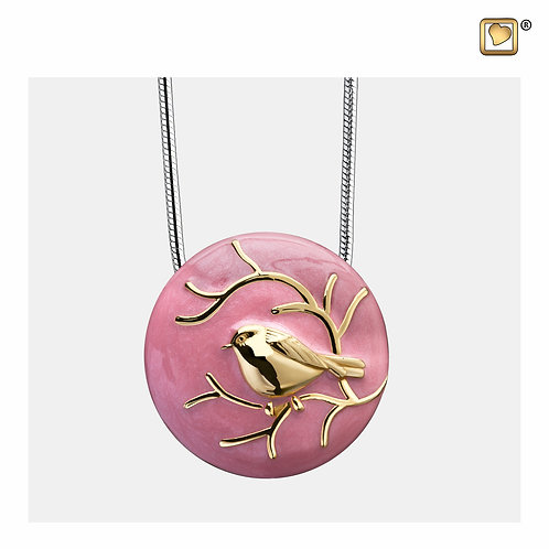 BlessingBirds Ashes Pendant Pearl Pink & Polished Gold Vermeil