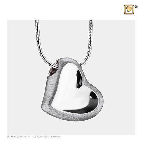 Leaning Heart Ashes Pendant Polished & Brushed Silver