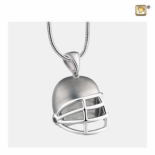 Football Helmet Ashes Pendant Polished & Brushed Silver