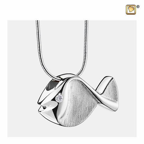Fish Ashes Pendant Polished & Brushed Silver with Zirconia Crystal