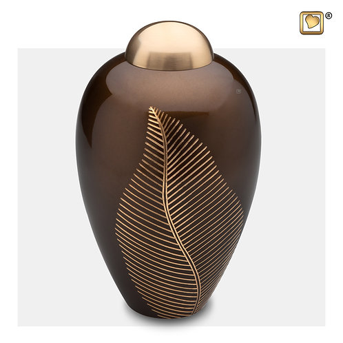 Elegant Leaf Urn Bronze & Brushed Gold