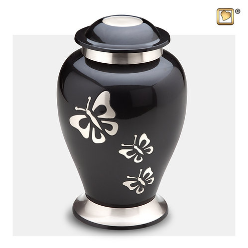 Classic Butterfly Tribute Urn Midnight & Brushed Pewter