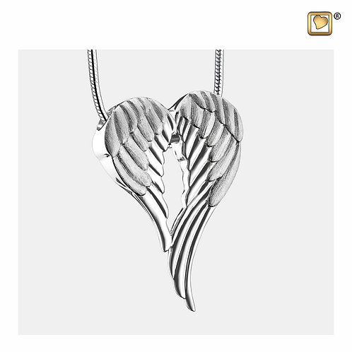 AngelWings Ashes Pendant Polished & Brushed Silver