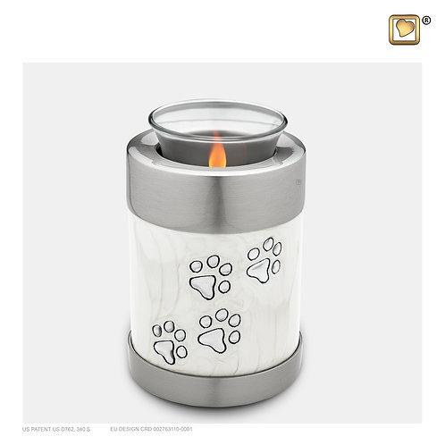 Pet Tealight Urn Pearl White & Brushed Pewter