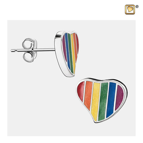 Leaning Heart Pride Rainbow Stud Earrings Polished Silver