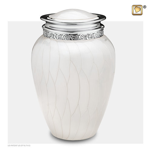 Blessing Urn Pearl White & Polished Silver