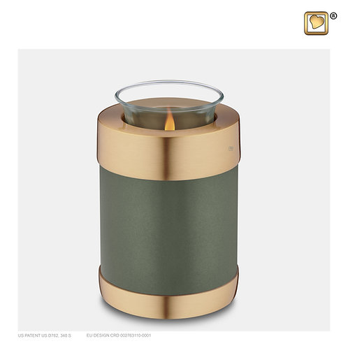 Tealight Urn Green & Brushed Gold