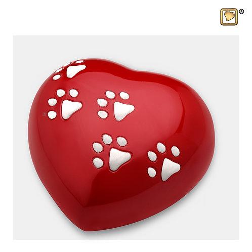 Heart Pet Urn Red & Brushed Pewter
