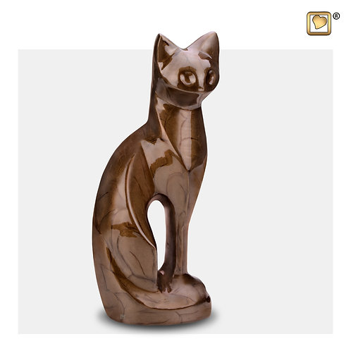 Cat Pet Urn Pearl Bronze