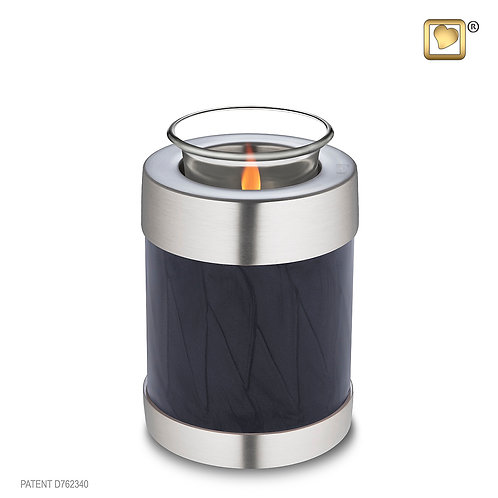 Tealight Urn Pearl Midnight & Brushed Pewter