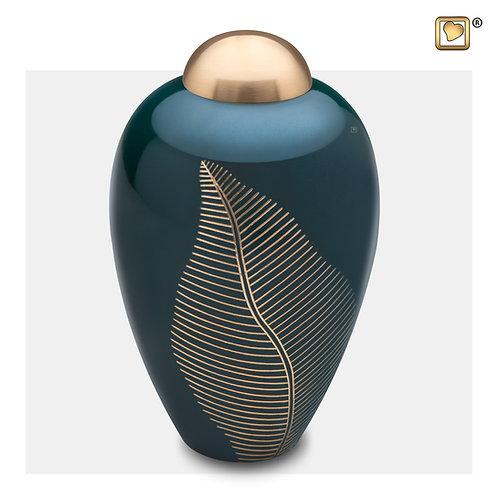 Elegant Leaf Urn Green & Brushed Gold
