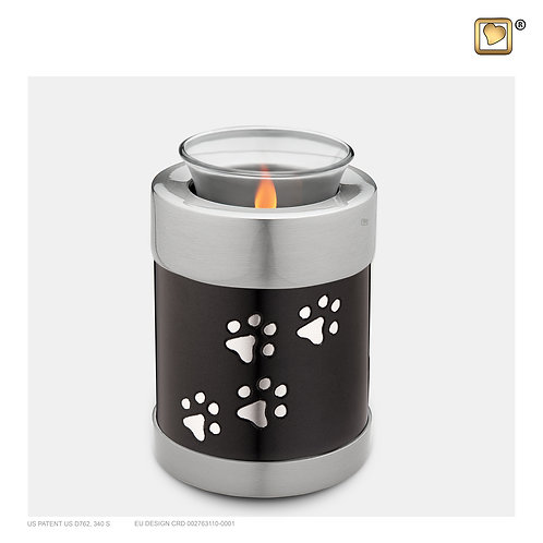 Pet Tealight Urn Midnight & Brushed Pewter