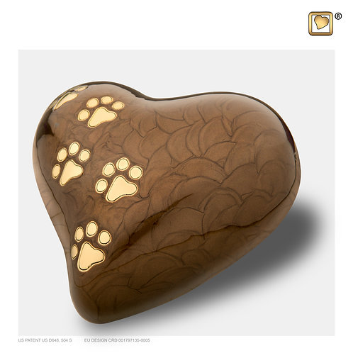 Heart Pet Urn Pearl Bronze & Brushed Gold