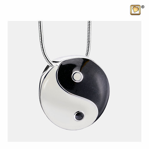 YinYang Ashes Pendant Pearl White & Midnight & Polished Silver