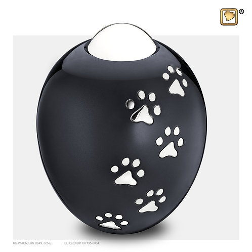 Adore  Pet Urn Midnight & Polished Silver
