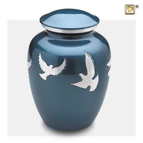 Divine Flying Doves Urn Blue & Brushed Pewter