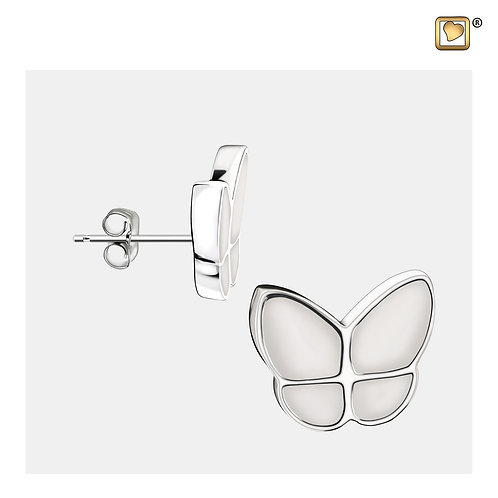 Wings of Hope Stud Earrings Pearl White