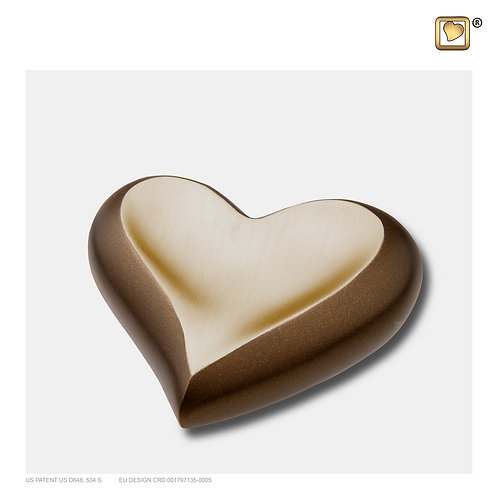 Heart Keepsake Urn Auburn & Brushed Gold