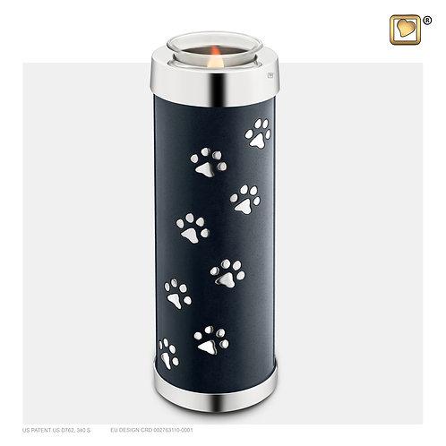 Tall Pet Tealight Urn Midnight & Polished Silver