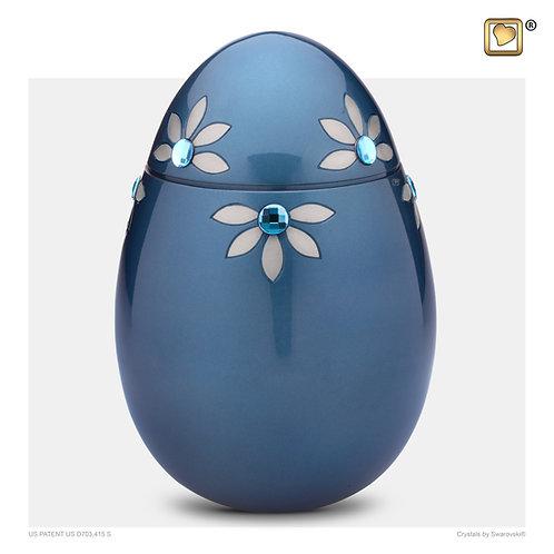 Nirvana Azure Urn Blue & Brushed Pewter with Swarovski®