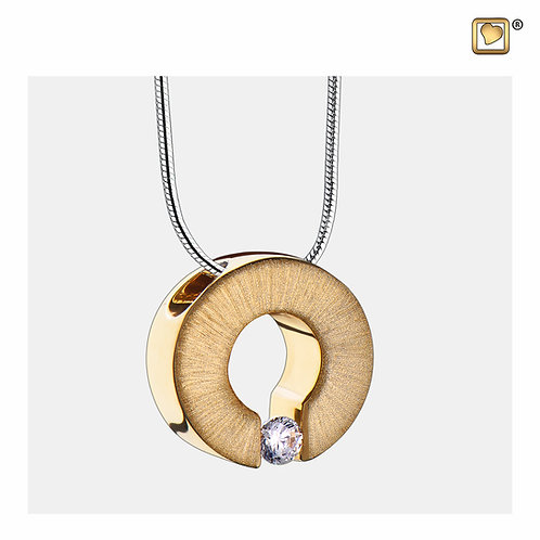 Omega Ashes Pendant Polished & Brushed Gold Vermeil with Zirconia Crystal