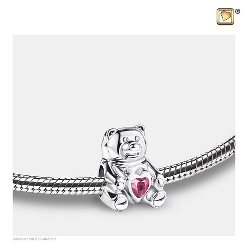 CuddleBear Ashes Bead with Pink Zirconia Crystal