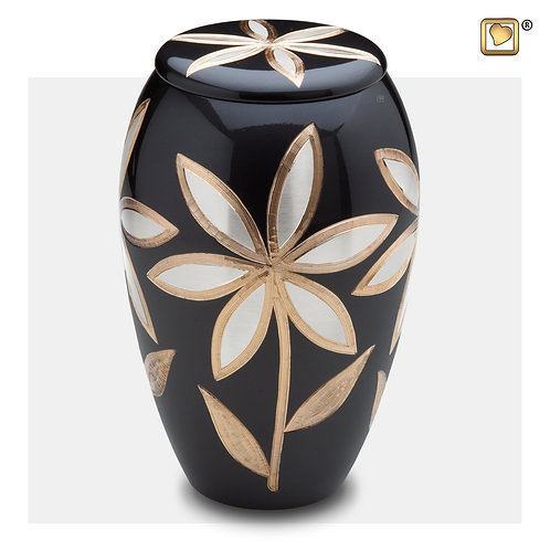Majestic Lillies Urn Midnight & Brushed Pewter