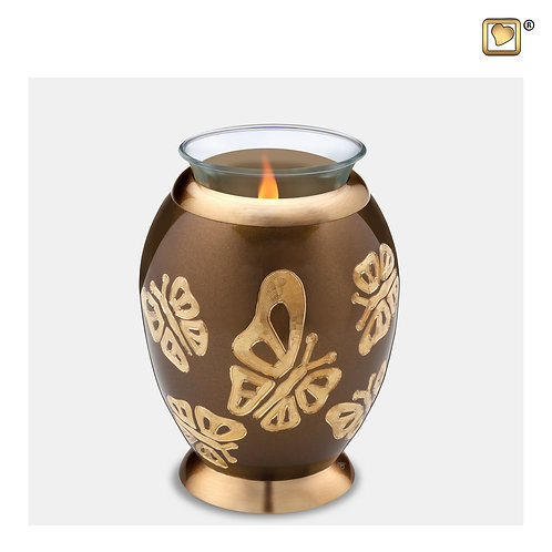 Elegant Butterfly Tealight Urn Bronze & Brushed Gold