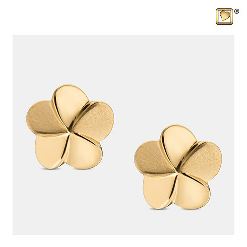 Bloom Stud Earrings Polished & Brushed Gold Vermeil