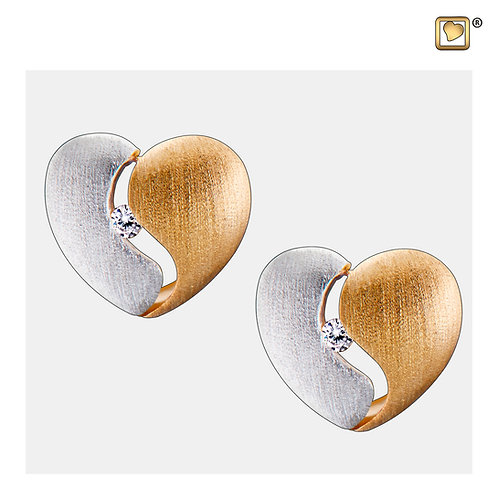 HeartFelt Stud Earrings Brushed Silver & Gold Vermeil