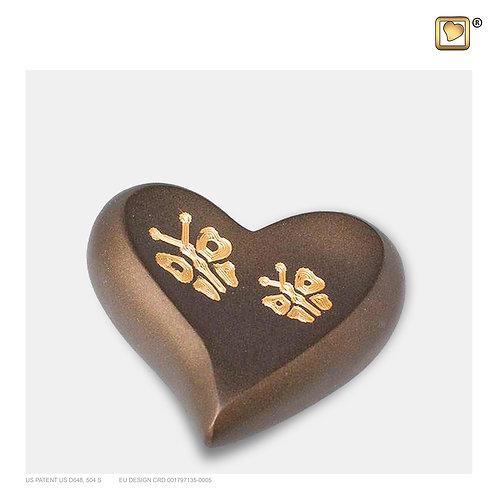 Elegant Butterfly Heart Keepsake Urn Bronze & Brushed Gold