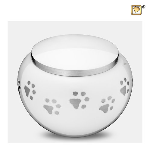 Classic Round Pet Urn White & Brushed Pewter