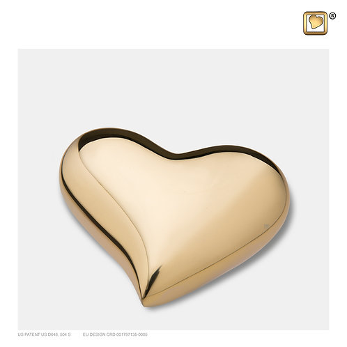 Heart Keepsake Urn Polished Gold