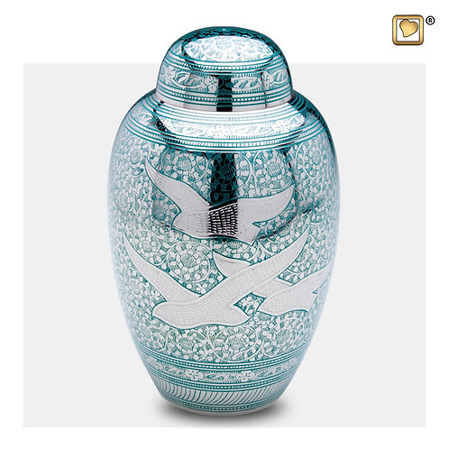 DomeTop Flying Dove Urn Green & Polished Silver