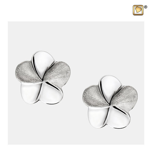 Bloom Stud Earrings Polished & Brushed Silver