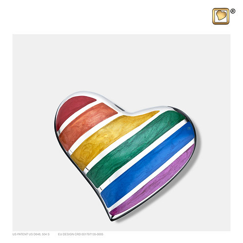 Pride Rainbow Heart Keepsake Urn Polished Silver