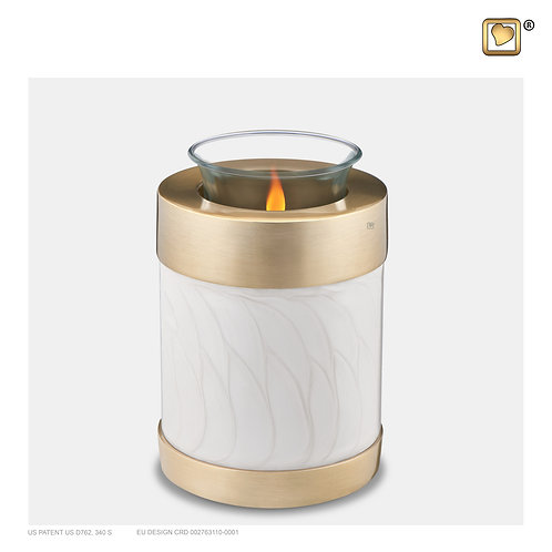 Tealight Urn Pearl White & Brushed Gold