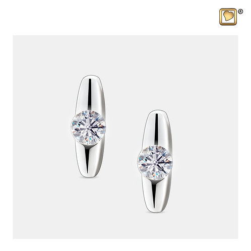 Stud Earrings Hope Rhodium Plated with Clear Crystal