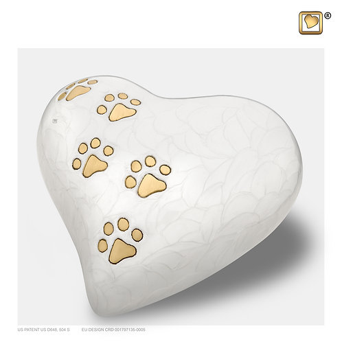 Heart Pet Urn Pearl White & Brushed Gold