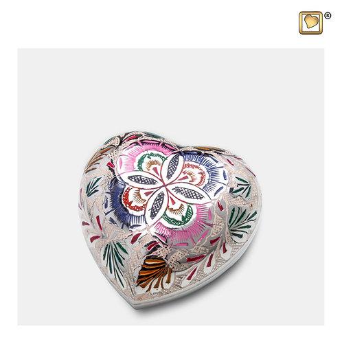 Floral Heart Keepsake Urn Polished Silver