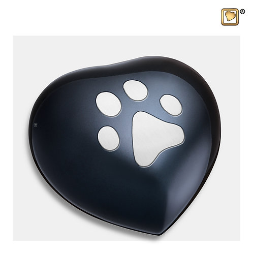 Heart Pet Urn Midnight & Brushed Pewter