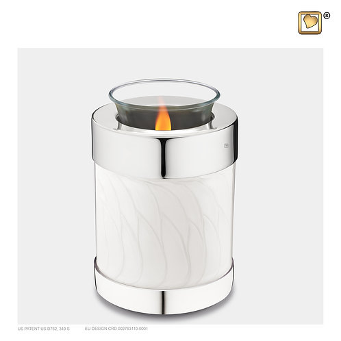 Tealight Urn Pearl White & Polished Silver