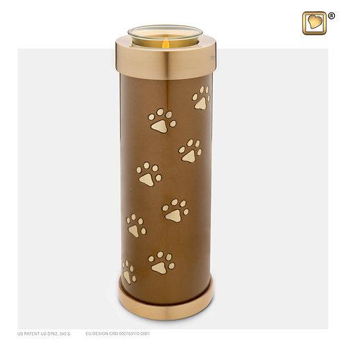 Tall Pet Tealight Urn Bronze & Brushed Gold