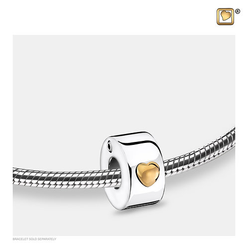 Glowing Heart Ashes Bead Polished Silver & Gold Vermeil