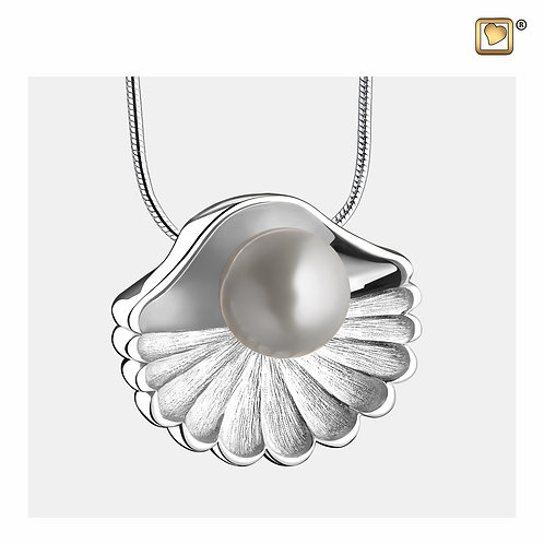SeaShell Pearl Ashes Pendant Polished & Brushed Silver