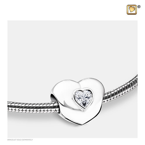 Heart to Heart Ashes Bead with Zirconia Crystal