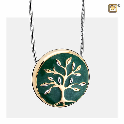 TreeofLove Ashes Pendant Pearl Green & Polished Gold Vermeil
